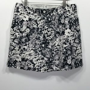 Gap Black White Gray Floral Pocket Casual Skirt